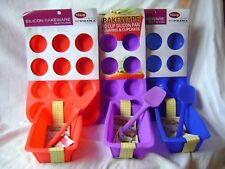 NEW SILICONE CAKE BAKING 3 SET LOAF SPATULA & 12 MUFFIN MOULD RED  or BLUE