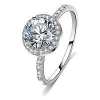 Fashion Women White Gold Filled Round Crystal CZ Wedding Love Ring Size 6 7 8 9