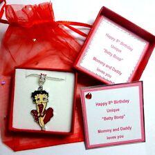 Betty Boop collier 18 In (environ 45.72 cm) Plaqué Argent Chaîne Serpent Personnalisé Boîte Cadeau & carte