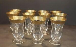 Set of 11 Minuet Glastonbury Lotus Glass Gold Trim Juice Glass 4 oz, 3720