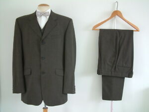 "EDWARDIAN STYLE 3 PIECE SUIT..40"" x 34""..1900's..CHECK..PEAKY BLINDERS..SPATS"