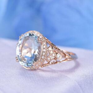 3Ct Oval Cut Aquamarine Diamond Halo Engagement Ring Solid 14K Rose Gold Finish