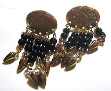 with small black beaded dangles Wonderful gold tone metal earrings