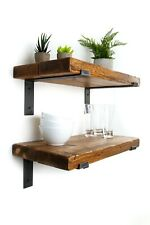 Rustic Shelves Handcrafted Using Solid Wood with 2 Metal Brackets 30cm deep 5cm