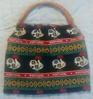 Vintage Portugal Rooster Tote Bag Purse - Woven Rattan Handle