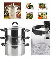 3 THREE TIER STAINLESS STEEL VEGETABLE FOOD STEAMER SET DISH INDUCTION POT