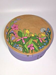 Vintage Round Hat Wood Box with Lid Painted Purple Color Flower Floral Pattern