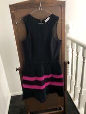 SCANLAN & THEODORE - Black scuba, mesh back dress w pink stripes - Size S (8-10)