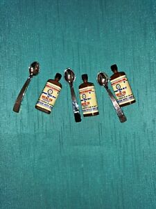 LOT OF 3 SETS* MEDICINE BOTTLE AND SPOON*BARBIE COLLECTOR*FAB FOR DIORAMA*EXC*