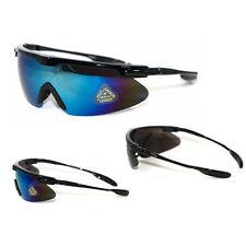 New Men Sport Sunglasses Wrap Mirrored Eyewear Biker Motorcycle Black / Blue Mix