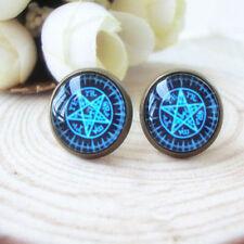 Ohrstecker gothic esoterik pentagram Blau hexe 079