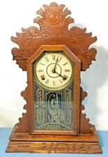 Antique The E. Ingraham & Co - Ornate Mantle Clock Bristol, Conn w/Orig Key