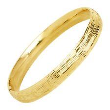 "Eternity Gold Textured Bangle Bracelet in 10K Gold, 7.5"""