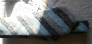 100% Cashmere Saks 5th Avenue Gray/Blue striped tie NWOT