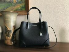Michael Kors Perforated Leather Mercer Corner Medium Center Zip Tote Color-black
