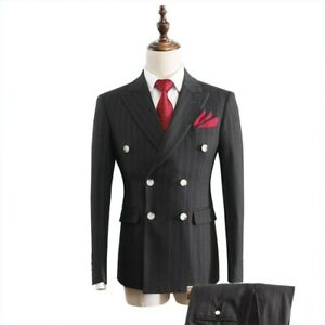 Men Slim fit Suit Striped Double breasted Formal Business Wedding Dress 2PCS New