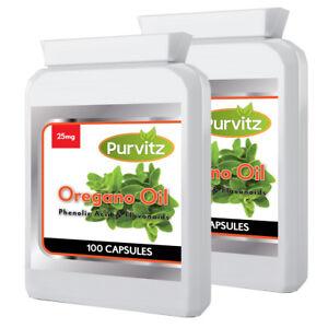 Oregano Oil 25mg Anti-fungal Antibiotic Carvacrol Rapid Release 200 Capsules UK