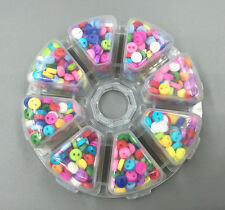 800pcs Mixed Resin Buttons Fit Sewing 8-color Transparent Storage Box + 6mm