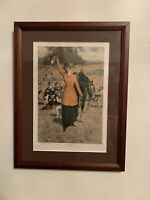 Drawn by George Gibbs The Brush! Vintage Color Print Matted Wood Frame