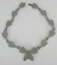enamel Necklace, unique & unusual signed Vintage large Taxco sterling silver &