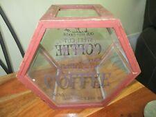 Vintage Wood / Glass Coffee Store Advertising Sign Display Bin