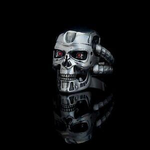 Terminator T-800 Ring, handmade, brass or sterling silver