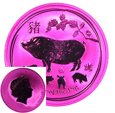 2019 Australia 1 oz Silver Lunar Year Of The Pig Space Pink Silver Ounce