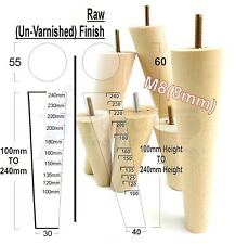 4x WOOD REPLACEMENT FURNITURE LEGS 100mm - 240mm SOFA, CHAIRS, SETTEES M8(8mm)