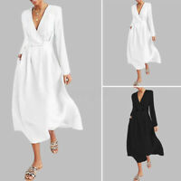 UK Womens Deep V Neck Long Sleeve Office Formal Ladies Midi Dress Plus Size 8-26