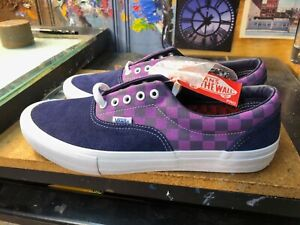 Vans Era Pro Baker Kader Purple Check Suede Size US 11.5 Men New Checkerboard