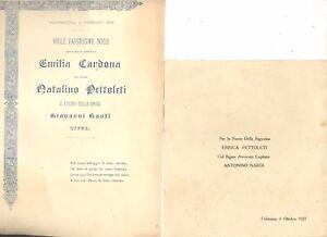 Nozze Pettoleti Cardona 1899 . Pettoleti Nardi 1927  2 sonetti per nozze