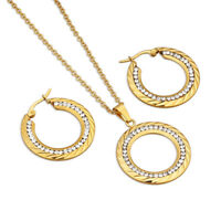 Gold Plated Rhinestones Stainless Steel Earrings Necklaces Women Jewelry Sets