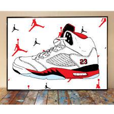 AIR JORDAN 5 FIRE RED MICHAEL NBA CHICAGO BULLS BASKETBALL ART SNEAKER PRINT