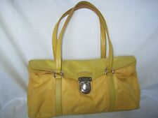 100% Authentic PRADA Yellow Nylon/Leather Satchel Shoulder Bag* Excellent* Italy