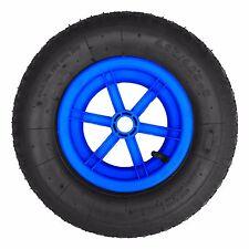 "BLUE SPOKED 16"" Pneumatic Wheelbarrow Wheel Tyre 4.80 / 4.00 - 8 BENT VALVE"