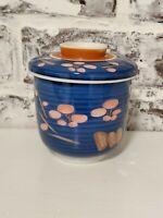 Vintage Japan Made Blue Covered Tea Cup , Sugar Bowl , Trinket Dish Blue / Pink