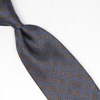Josiah France Mens Silk Necktie Pewter Gray Brown Metallic Check Weave Tie