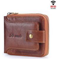 Mens Genuine Leather Vintage Zipper  Wallet RFID Blocking Card Holder Coin Purse