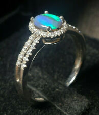 Black Opal Sterling Silver Gold Plated Ring Size 7 Australian 7x5