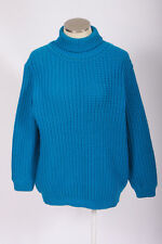 Vtg 70s Retro NEIMAN MARCUS Turquoise Blue Chunky Wool Knit Turtleneck Sweater L