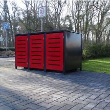 3 Mülltonnenboxen Modell No.6  für 240 Liter Mülltonnen Anthrazit / Front Rot