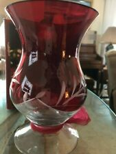 Lenox Christmas Ruby Red Etched Hurricane Candle Holder (8� tall X 5.25� across)