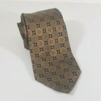 "JOSEPH ABBOUD Medallion Tie Brown Blue 100% Silk 61"" L 3.5"" W Made in Italy"