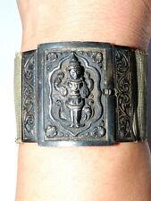 Selteners großes breites Silber Armband mit Stretchband um 1920