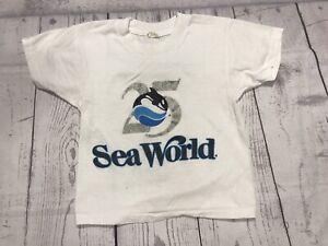 Vintage Sea World T Shirt Kids Small 6-8 Screen Stars San Diego 80s 90s Vtg