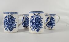 American Atelier at Home Set of 4 Stoneware Mugs - Floral Toile Blue