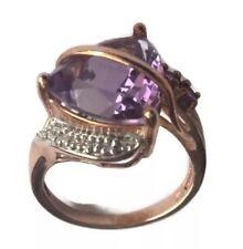 Vintage  Art Nouveau Trillion Cut Amethyst Diamonds 10K Solid Rose Gold  Ring