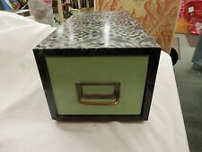 Metal Steel Green Industrial Age File Cabinet Box Drawer Card Vtg Crafts laced