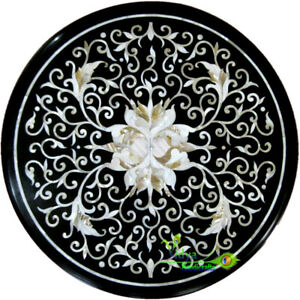 """24"""" Marble Coffee Center Table Top Mother Of Pearls Inlay Marquetry Art Interior"""