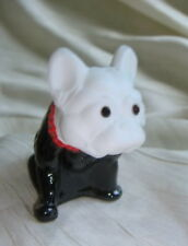 French Bulldog Glass Figurine Westmoreland Patterned Airbrushed Black w/Red Coll